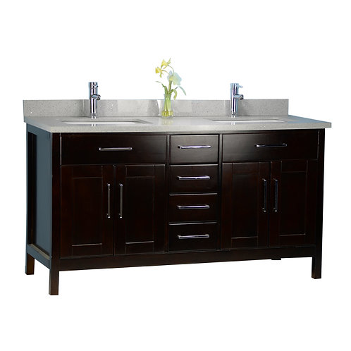 "60"" Solid Wood Espresso Vanity with Stone Top"