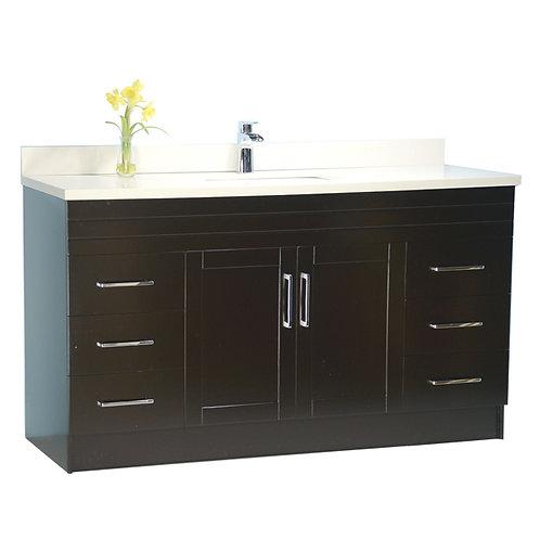 "60"" Espresso Single-Sink Vanity with Stone Top"