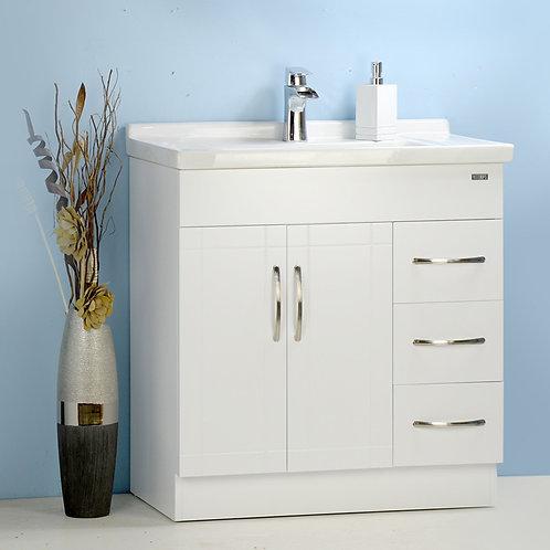 "32"" White Vanity with Ceramic Top"