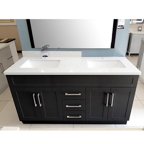 "60"" Double-Sink Espresso Vanity with Stone Top"