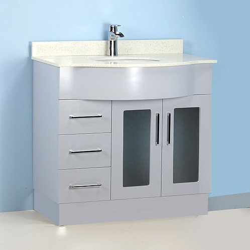 """36"""" Gray Curved Vanity with Stone Top"""