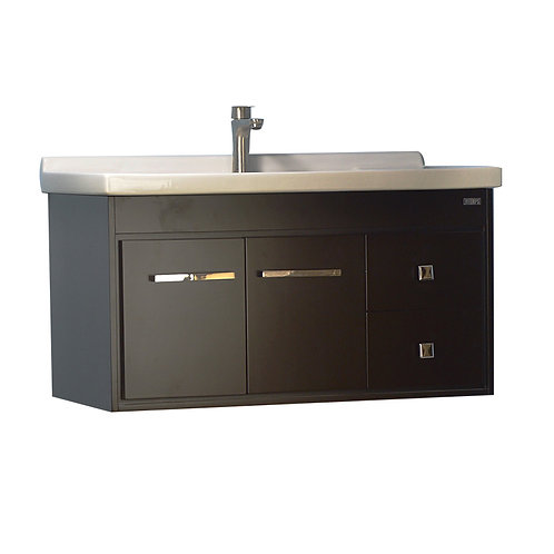 36'' Wall-Mounted Solid Wood Espresso Vanity with Ceramic Sink