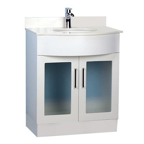 "30"" White Double-Door Vanity with Stone Top"