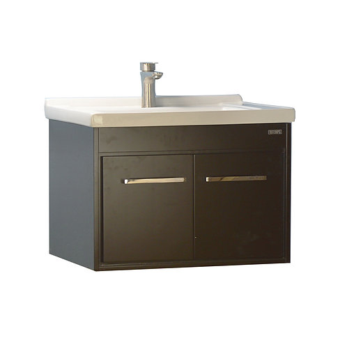 32'' Wall-Mounted Solid Wood Espresso Vanity with Ceramic Sink