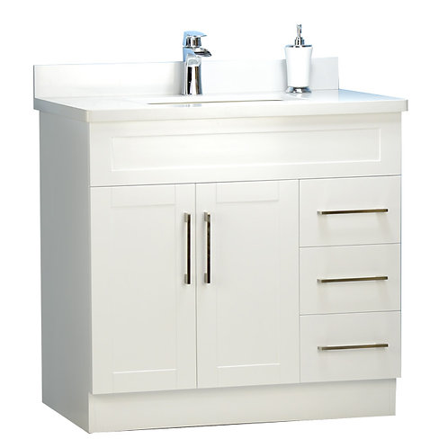 "36"" Shaker Style White Vanity with Stone Top"