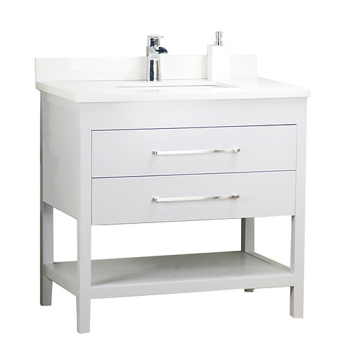 32'' Solid Wood White Vanity with Shelf