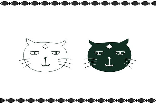 illustration 3 - Face of Black & White Cats