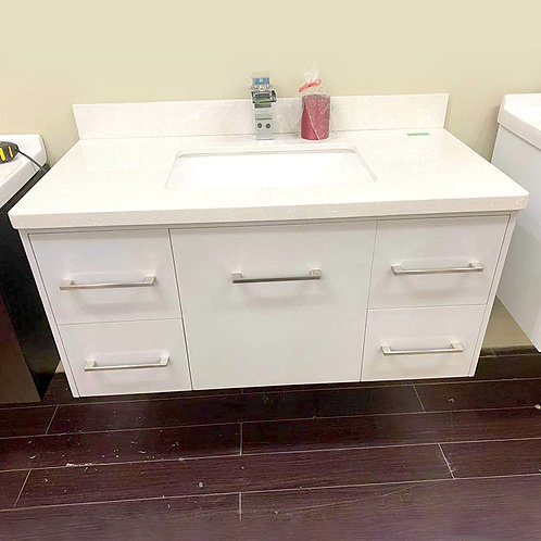 40'' Wall-Mounted Solid Wood Gray Vanity with Stone Top