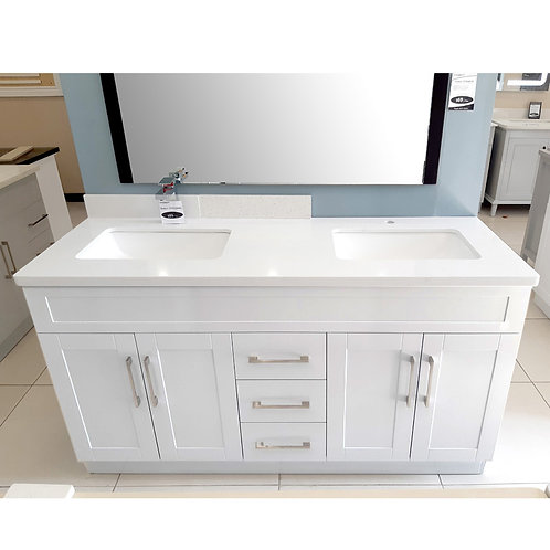 """60"""" Double-Sink White Vanity with Stone Top"""