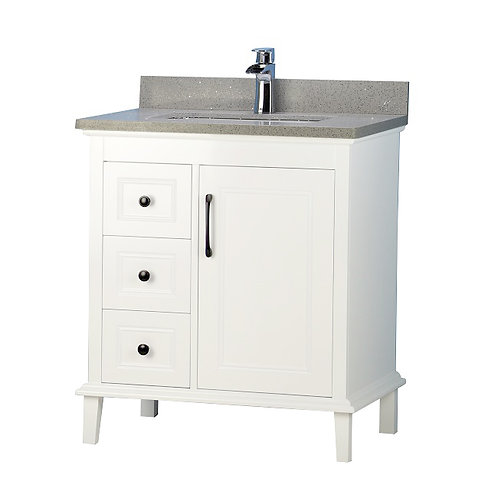 "30"" European Style White Vanity with Stone Top"