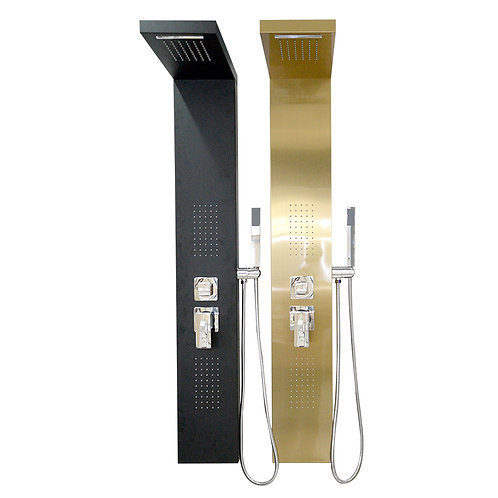 Aluminum Shower Panel with Heavy Rain Shower (Brush Gold/Black)
