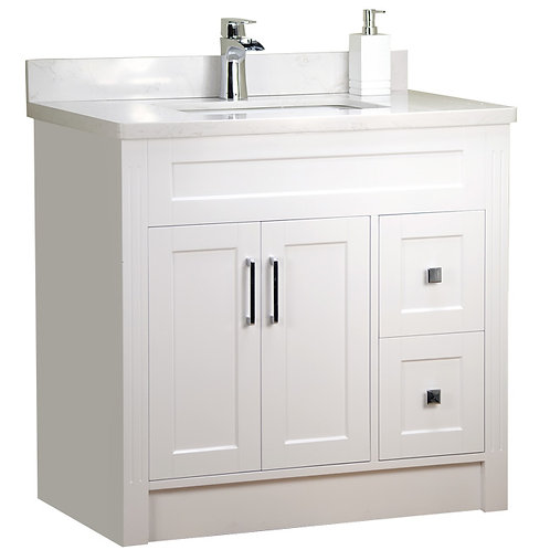 """36"""" Shaker Style White Vanity with Stone Top"""