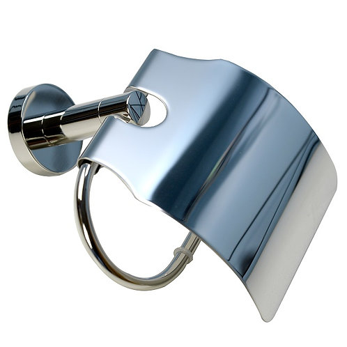 Covered Round Toilet Paper Holder (Chrome)