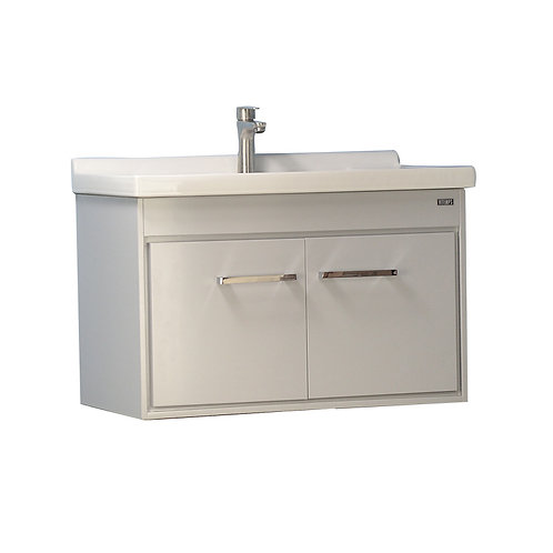 24'' Wall-Mounted Solid Wood Grey Vanity with Ceramic Sink