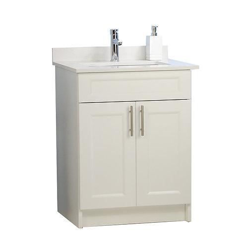 """24"""" Veneer White Cabinet Double Doors with Quartz Top (Customized)"""