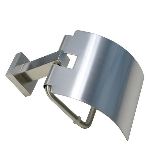 Covered Square Toilet Paper Holder (Brushed Nickel)