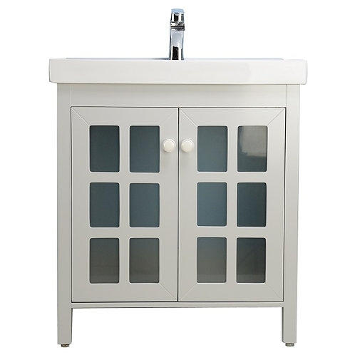 "30"" Modern Grey Vanity with Ceramic Top"