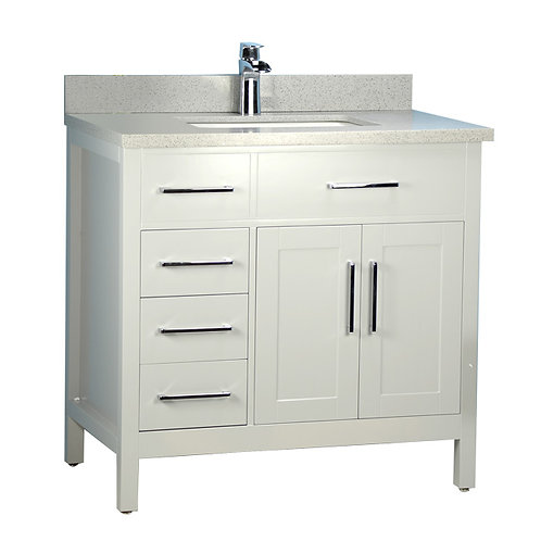 "36"" Classic Style Solid Wood Grey Vanity with Stone Top (Floor Model)"