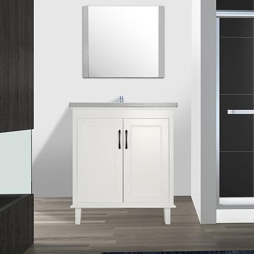 "30"" European Style White Double-doors Vanity with Stone Top"