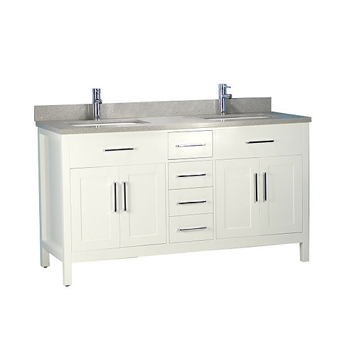 """60"""" Solid Wood White Vanity with Stone Top"""