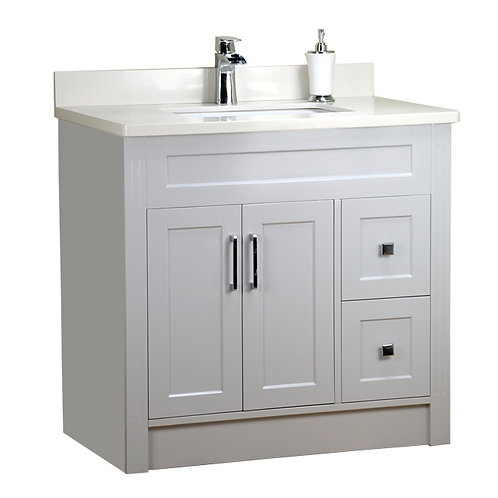 """36"""" Shaker Style Gray Vanity with Stone Top"""