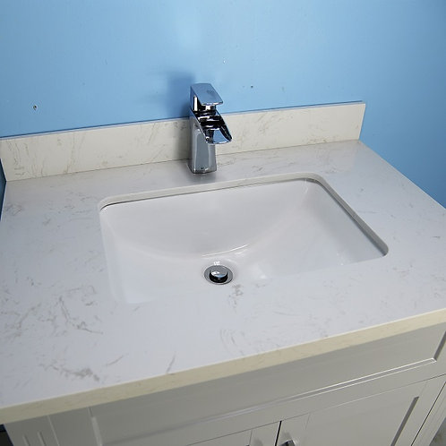 """32"""" Shaker Style White Vanity with Stone Top"""