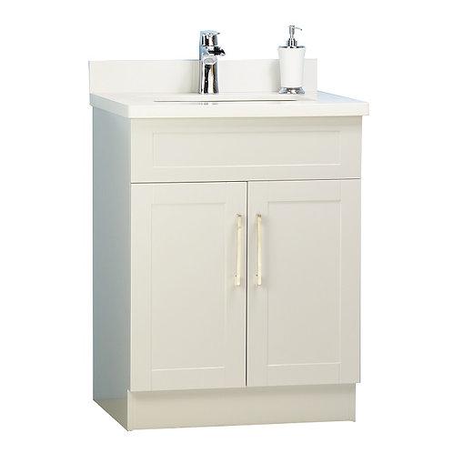 """26"""" White Bathroom Vanity with Stone Top"""