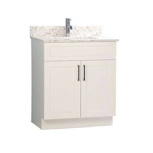 """24"""" White Vanity with Quartz Stone Top"""