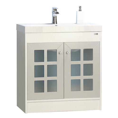 """32"""" Grey Vanity with frosted glass doors"""
