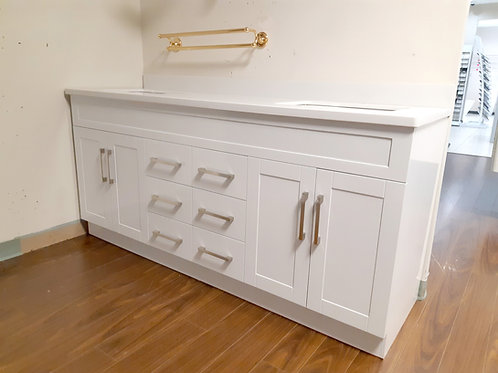 "72"" Double-Sink White Vanity with Stone Top"