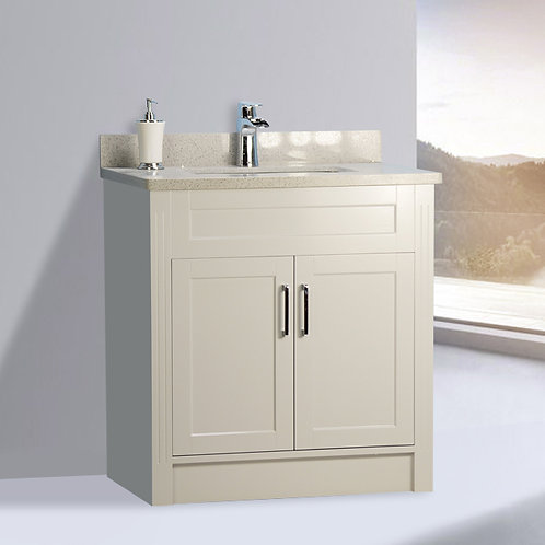 """32"""" Shaker Style Gray Vanity with Stone Top"""