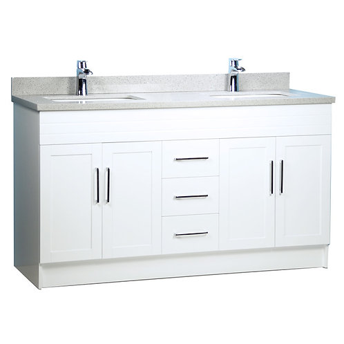 "60"" Double-Sink White Vanity with Stone Top"
