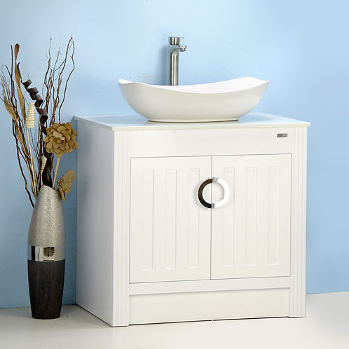 """30"""" Vessel Sink Vanity with Man-made Stone Top"""