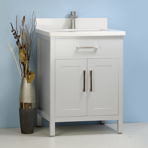 "24"" Solid Wood Grey Vanity with Stone Top"