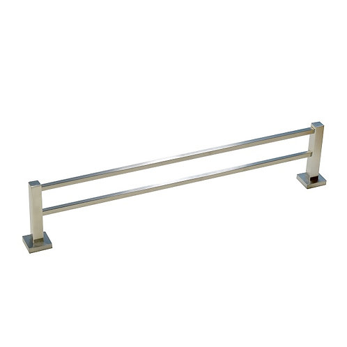 Double-Bar Square Towel Rack with Brush Nickel finish