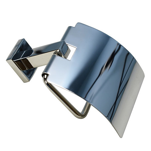 Covered Square Toilet Paper Holder (Chrome)