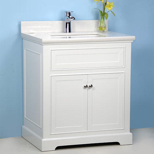 "36"" White Vanity with Man-made Stone Top"