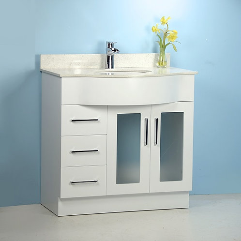 "36"" White Curved Vanity with Stone Top"