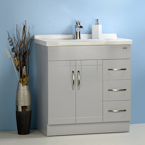 "32"" Gray Vanity with Ceramic Top"