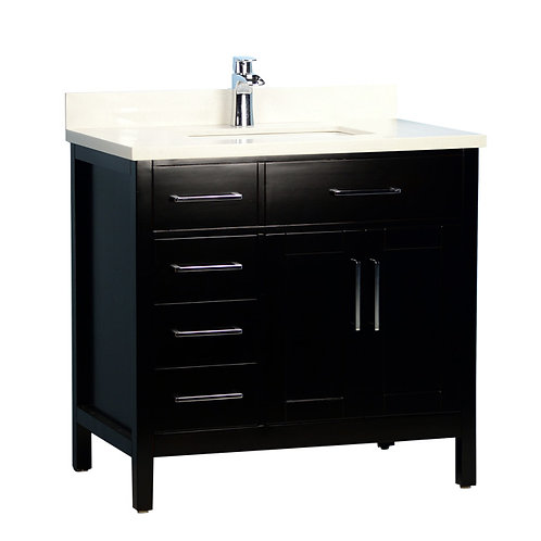 """36"""" Classic Style Solid Wood Espresso Vanity with Stone Top (Floor Model)"""