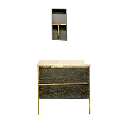 """36"""" Royal Style Dark Oak Blue Solid Wood Vanity Set"""