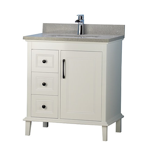 "30"" European Style Grey Vanity with Stone Top"