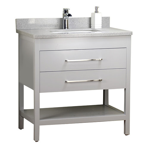 32'' Solid Wood Grey Vanity with Shelf