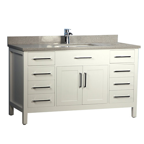 "60"" Solid Wood Single-Sink White Vanity with Stone Top"