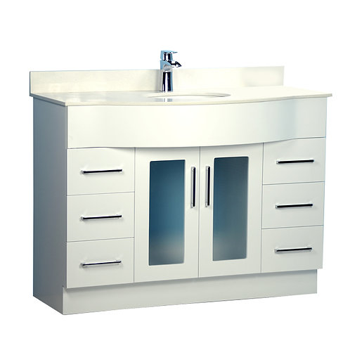 "48"" Traditional Style Curved White Vanity with Stone Top"