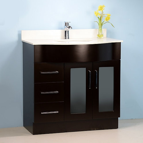 """36"""" Espresso Curved Vanity with Stone Top"""