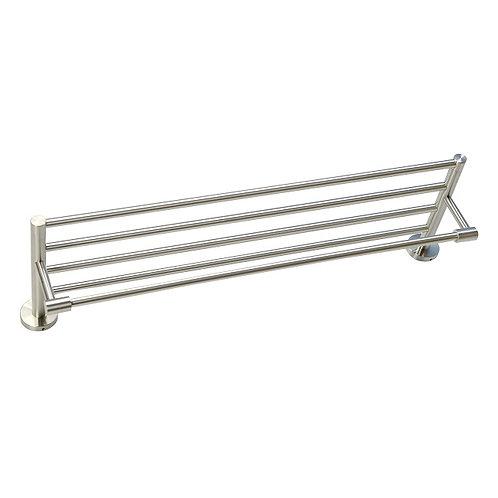 5-Bar Round Base Towel Shelf (Brush Nickel)