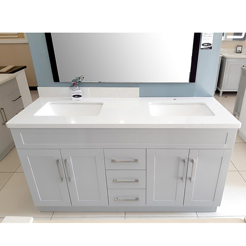 """60"""" Double-Sink Gray Vanity with Stone Top"""