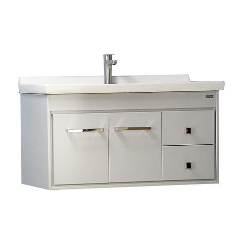 36'' Wall-Mounted Solid Wood Gray Vanity with Ceramic Sink