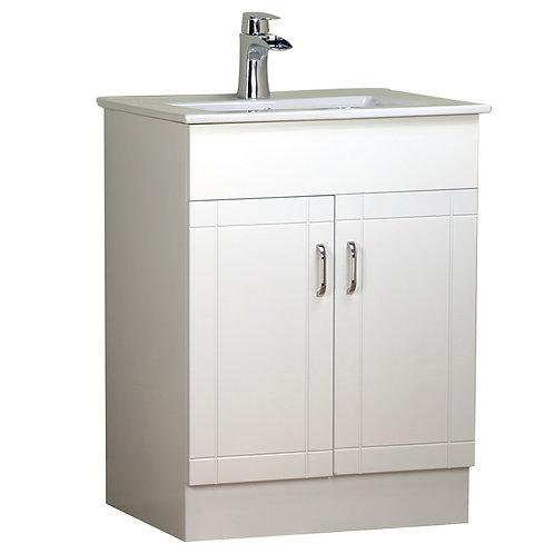 "24"" White Vanity with Ceramic Top"